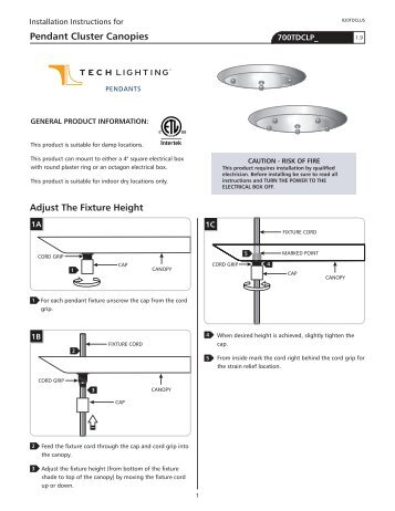 Pendant Cluster Canopies - Tech Lighting