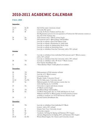 2010-2011 ACADEMIC CALENDAR - AUK