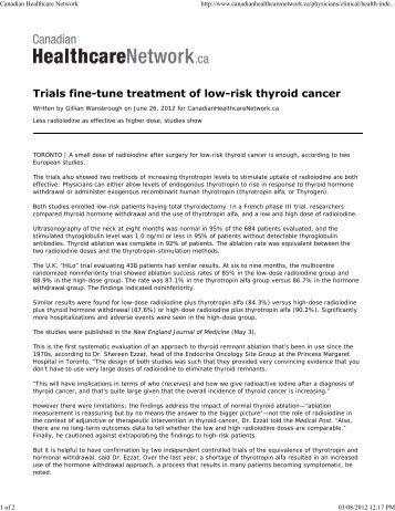 Canadian Healthcare Network - Thyroid Cancer Canada