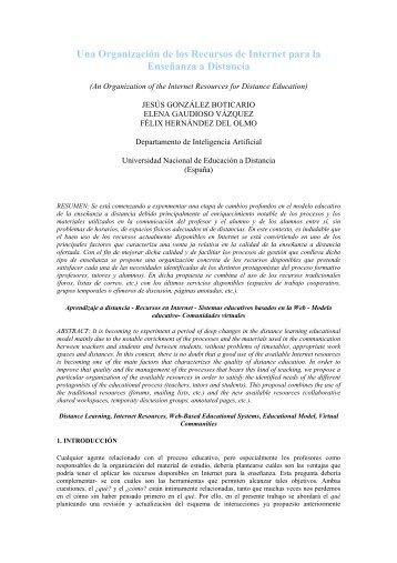 Una Organización de los Recursos de Internet para la Enseñanza a ...