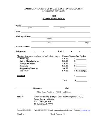 Louisiana Membership Form - American Society of Sugar Cane ...