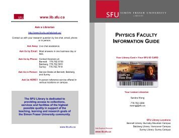 physics faculty information guide - SFU Library - Simon Fraser ...