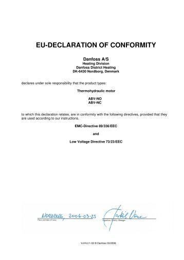 EU-DECLARATION OF CONFORMITY - Danfoss