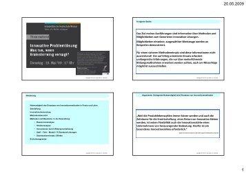 Das Ziel meiner Ausführungen sind Information über Methoden und ...