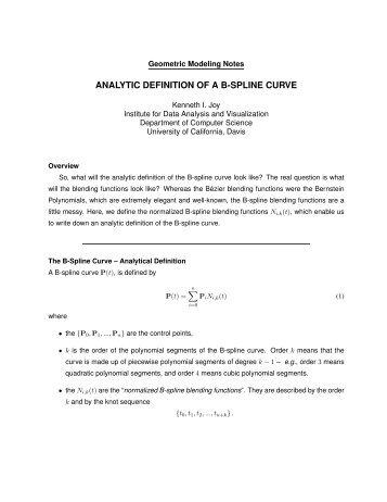 analytic definition of a b-spline curve - IDAV: Institute for Data ...