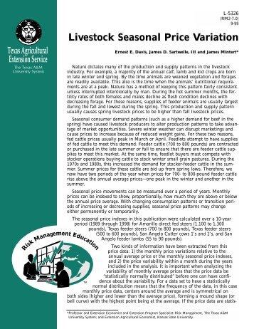 Seasonal Price Variations - Extension Agricultural Economics
