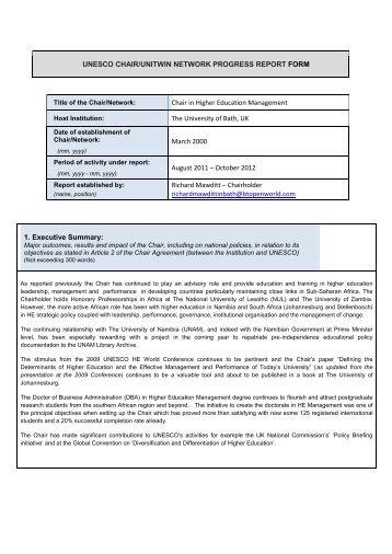Bath UNESCO Chair Annual Progress Report - UK National ...