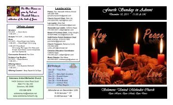 Fourth Sunday in Advent - Solomons United Methodist Church
