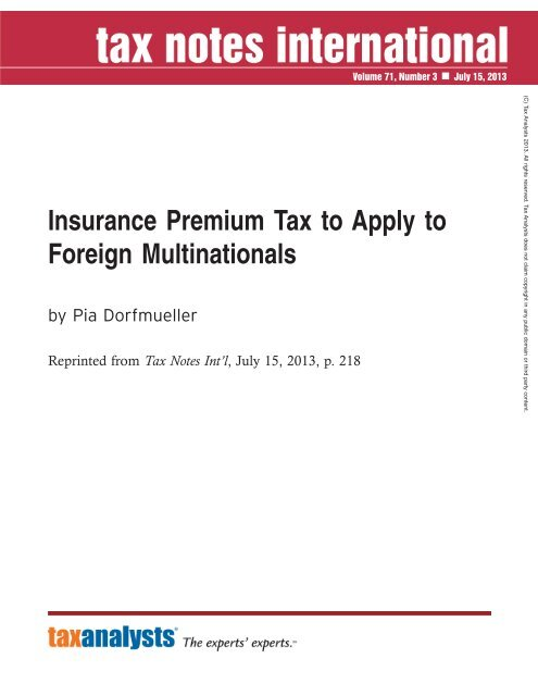 Insurance Premium Tax to Apply to Foreign Multinationals