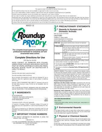 Roundup Pro Dry Label - Kentucky Transportation Cabinet