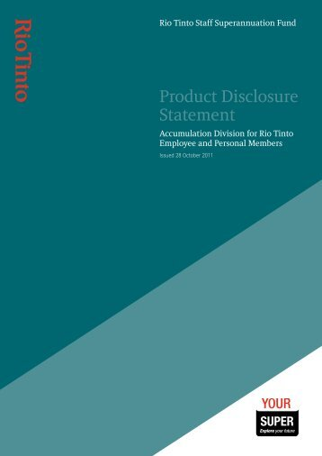 Product Disclosure Statement - SuperFacts.com
