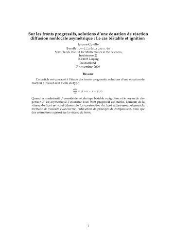 Sur les fronts progressifs, solutions d'une équation de ... - CMM