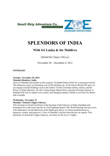 SPLENDORS OF INDIA - Small Ship Adventure Cruises worldwide