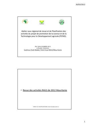• Revue des activités RAILS de 2012 Mauritanie - eRails