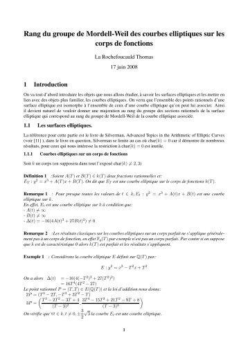 Rang du groupe de Mordell-Weil des courbes elliptiques sur les ...