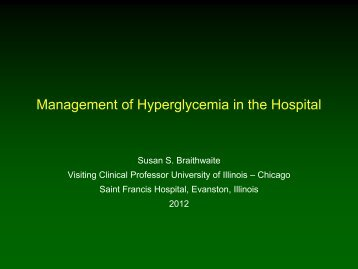Management of Hyperglycemia in the Hospital - American Diabetes ...