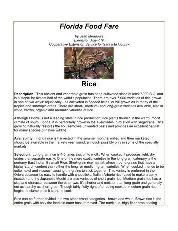 Florida Food Fare Rice - Sarasota County Extension