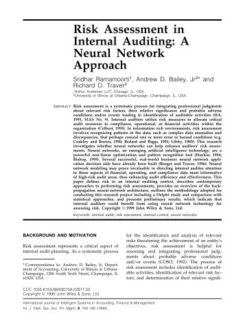 Risk assessment in internal auditing: a neural network approach