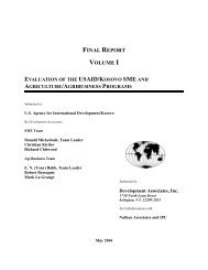 Evaluation of the USAID-Kosovo SME and Agriculture - Economic ...