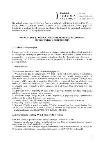 javni razpis za sofinanciranje odkupa slovenskih ... - RTV Slovenija