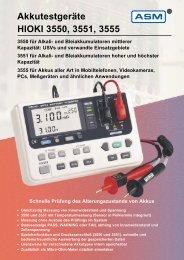 Akkutestgeräte HIOKI 3550, 3551, 3555 - ASM GmbH