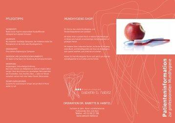 Patienteninformation - Zahnärztin Wien, Dr. Habitzl