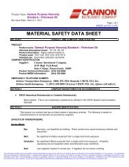 MATERIAL SAFETY DATA SHEET - Cannon Instrument Company