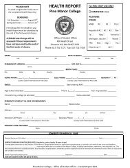 Health Report Form - Pine Manor College