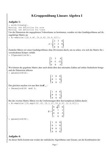 8.Gruppenübung Lineare Algebra I