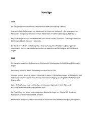 Vorträge Siegen III - Seminar für Mathematik und ihre Didaktik
