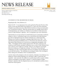 1 STATEMENT OF THE ARCHDIOCESE OF OMAHA Regarding the ...