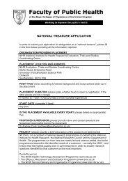 NATIONAL TREASURE APPLICATION - UK Faculty of Public Health