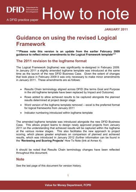 Using Revised Logical Framework External
