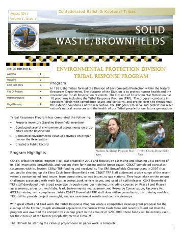 Brownfield August 2011 Newsletter - Confederated Salish and ...