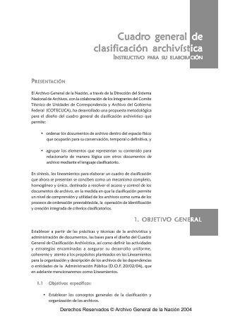 Cuadro general o general de clasificación archivíst ica - Archivo ...