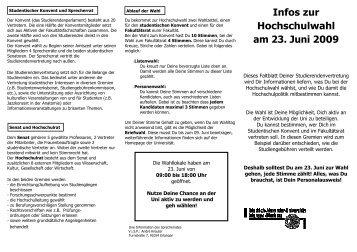 Infos zur Hochschulwahl am 23. Juni 2009 - Stuve Uni Erlangen ...