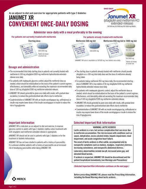 Start with once-daily JANUMET XR for convenient dosing - Januvia