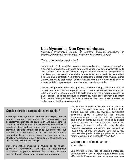 Les Myotonies Non Dystrophiques Myotonies congénitales
