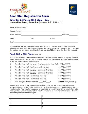 Food Stall Registration Form - Brimbank City Council