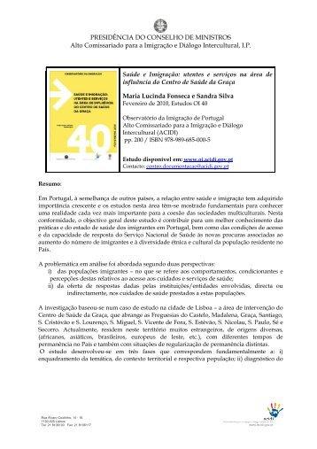 Resumo estudo 40 - Observatório da Imigração - Acidi
