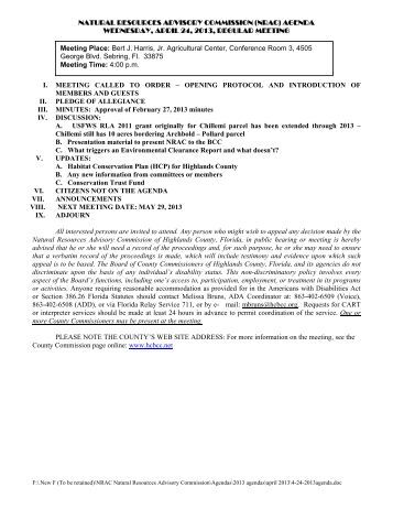 April 24, 2013 Agenda Packet - Highlands County