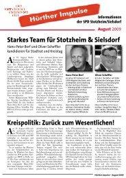 Hürther Impulse Stotzheim & Sielsdorf - SPD Ortsverein Hürth