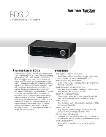 Specification Sheet - BDS 2 - Harman Kardon