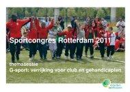 Themasessie 8. G-sport - verrijking voor club en gehandicapten