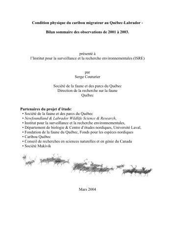 Condition physique du caribou migrateur au Québec ... - Iemr.org