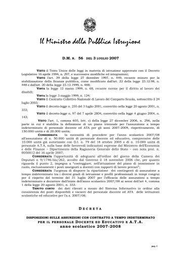 decreto n. 56 del 3.7.2007 - CISL Scuola