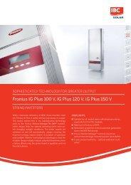 Fronius IG Plus 100 V, IG Plus 120 V, IG Plus 150 V - IBC Solar