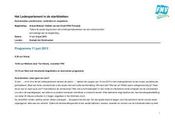 Programma 2 daagse Ledenparlement 11 en 12 ... - FNV Horecabond