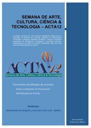 semana de arte, cultura, ciência & tecnologia – acta12 - ACTA 11 ...