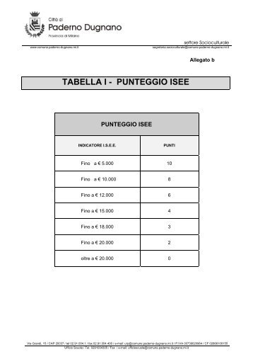 tabella i - punteggio isee - Sito Istituzionale del Comune di Paderno ...